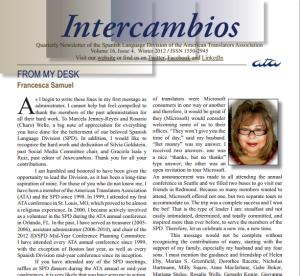 Cover - Intercambios Winter 2012