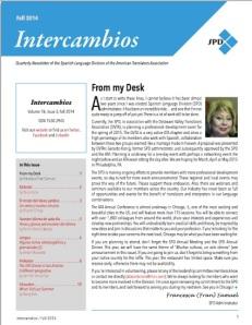 Fall 2014 Intercambios Cover