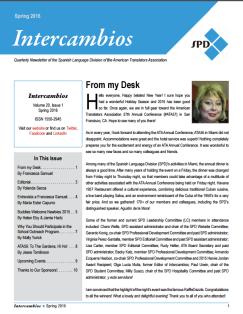 Spring 2016 Intercambios Cover